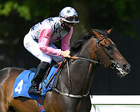 Juanito Chico ridden by Rhys Clutterbuck goes down to the start of The AJN Steelstock Henstridge Apprentice Handicap  during Horse Racing at Salisbury Racecourse on 9th August 2020