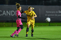 Charleroi midfielder Ines Dhaou (5) and Standard forward Sylke Calleeuw (9) pictured during a female soccer game between Sporting Charleroi and Standard Femina de Liege on the sixth matchday of the 2020 - 2021 season of Belgian Scooore Womens Super League , friday 6 th of November 2020  in Marcinelle , Belgium . PHOTO SPORTPIX.BE | SPP | STIJN AUDOOREN