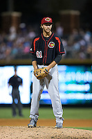 Rochester Red Wings relief pitcher Mark Hamburger (41) looks to his catcher for the sign against the Charlotte Knights at BB&T BallPark on August 8, 2015 in Charlotte, North Carolina.  The Red Wings defeated the Knights 3-0.  (Brian Westerholt/Four Seam Images)