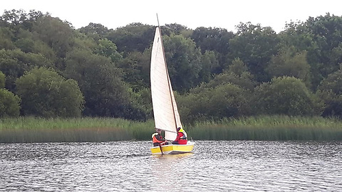 Ranger making her way to the Boathouse. Edwina Ternan at the helm and Fred Ternan crewing