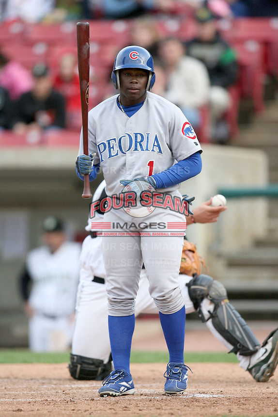 June 6, 2009: Josh Harrison (1) of the Peoria Chiefs at Elfstrom Stadium in Geneva, IL..  Photo by: Chris Proctor/Four Seam Images