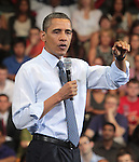 U.S. President Barack Obama speaks during a town hall meeting at Ritchie Coliseum on the campus of the University of Maryland in College Park, Maryland July 22, 2011..Copyright EML/Rockinexposures.com.
