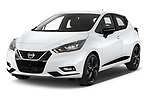 2021 Nissan Micra N-Sport 5 Door Hatchback Angular Front automotive stock photos of front three quarter view