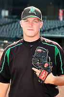 Dayton Dragons pitcher Jacob Johnson during a game vs. the Great Lakes Loons at Dow Diamond in Midland, Michigan August 19, 2010.   Great Lakes defeated Dayton 1-0.  Photo By Mike Janes/Four Seam Images