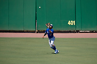 Toronto Blue Jays center fielder Steward Berroa (17) catches a fly ball during an Instructional League game against the Philadelphia Phillies on September 17, 2019 at Spectrum Field in Clearwater, Florida.  (Mike Janes/Four Seam Images)