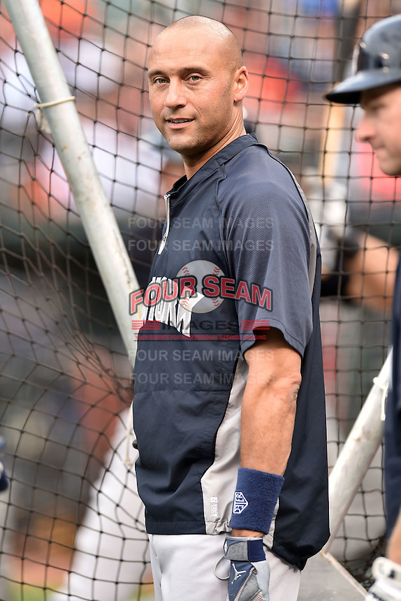 New York Yankees shortstop Derek Jeter #2 before a game against the Baltimore Orioles at Oriole Park at Camden Yards August 11, 2014 in Baltimore, Maryland. The Orioles defeated the Yankees 11-3. (Tony Farlow/Four Seam Images)