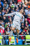 Cristiano Ronaldo of Real Madrid heads the ball during the La Liga 2017-18 match between Real Madrid and Deportivo Alaves at Santiago Bernabeu Stadium on February 24 2018 in Madrid, Spain. Photo by Diego Souto / Power Sport Images