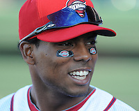 Outfielder Aneury Tavarez (5) of the Greenville Drive wears Drive-logo eye black before the team's Opening Day game against the Charleston River Dogs on Friday, April 5, 2013, at Fluor Field at the West End in Greenville, South Carolina. (Tom Priddy/Four Seam Images)