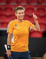The Hague, The Netherlands, Februari 4, 2020,  Sportcampus , FedCup  Netherlands - Balarus, Dutch team practise, Demi Schuurs.<br /> Photo: Tennisimages/Henk Koster