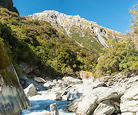 Upper reaches of wild Copland River, Westland National Park, West Coast, World Heritage Area, South Westland, New Zealand