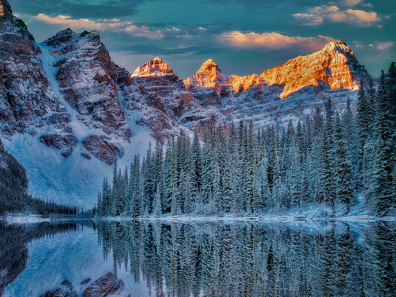 First snow of the season on Moraine Lake. Banff National Park, Alberta, Canada