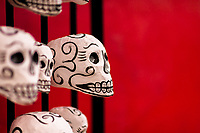 Hand-painted skulls (Calaveras) are seen placed on a street door during the Day of the Dead celebrations in Oaxaca, Mexico, 31 October 2019. Day of the Dead (Día de Muertos), a religious holiday combining the death veneration rituals of Pre-Hispanic cultures with the Catholic practice, is widely celebrated throughout all of Mexico. Based on the belief that the souls of the departed may come back to this world on that day, people gather together while either praying or joyfully eating, drinking, and playing music, to remember friends or family members who have died and to support their souls on the spiritual journey.