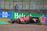 18th April 2021; Autodromo Enzo and Dino Ferrari, Imola, Italy; F1 Grand Prix of Emilia Romagna, Race Day;  SAINZ Carlos (spa), Scuderia Ferrari SF21 going off track in the gravel