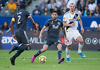 CARSON, CA - SEPTEMBER 29: Erik Godoy #22 of the Vancouver Whitecaps moves to the ball during a game between Vancouver Whitecaps and Los Angeles Galaxy at Dignity Health Sports Park on September 29, 2019 in Carson, California.