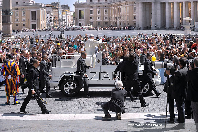 Pope Francis during his weekly general audience in St. Peter square at the Vatican, Wednesday.August  27, 2014.