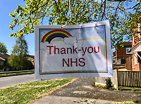 High Wycombe, UK. 14th April, 2020.<br /> A tree is decorated saying Thank You to the NHS during the Covid-19 Pandemic as the UK Government advice to maintain social distancing and minimise time outside in High Wycombe on 14 April 2020. Photo by PRiME Media Images
