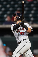 Scottsdale Scorpions Joey Bart (27), of the San Francisco Giants organization, hits his first home run of the game during an Arizona Fall League game against the Mesa Solar Sox on September 18, 2019 at Sloan Park in Mesa, Arizona. Scottsdale defeated Mesa 5-4. (Zachary Lucy/Four Seam Images)