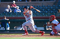 Surprise Saguaros designated hitter John Nogowski (40), of the St. Louis Cardinals organization, follows through on his swing during an Arizona Fall League game against the Scottsdale Scorpions on October 27, 2017 at Scottsdale Stadium in Scottsdale, Arizona. The Scorpions defeated the Saguaros 6-5. (Zachary Lucy/Four Seam Images)