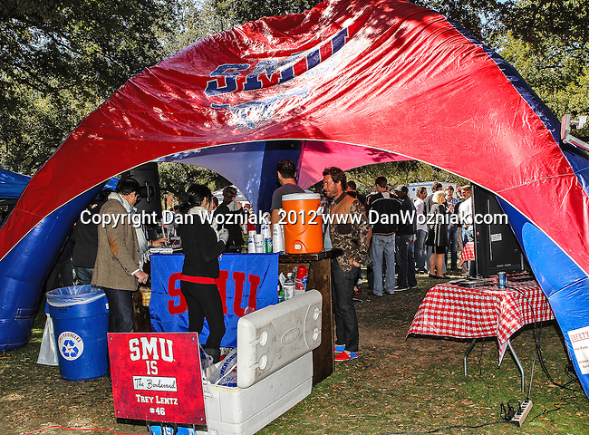 Southern Methodist Mustangs fans celebrate homecoming before the game between the Memphis Tigers and the Southern Methodist Mustangs at the Gerald J. Ford Stadium in Dallas, Texas. SMU defeats Memphis 44 to 13.