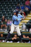 Charlotte Stone Crabs third baseman Juniel Querecuto (3) at bat during a game against the Bradenton Marauders on April 20, 2015 at McKechnie Field in Bradenton, Florida.  Charlotte defeated Bradenton 6-2.  (Mike Janes/Four Seam Images)