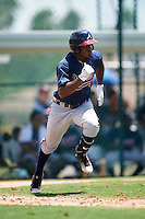 GCL Braves shortstop Nicholas Shumpert (92) runs to first during a game against the GCL Pirates on August 10, 2016 at Pirate City in Bradenton, Florida.  GCL Braves defeated the GCL Pirates 5-1.  (Mike Janes/Four Seam Images)