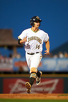Bradenton Marauders second baseman Kevin Kramer (14) running the bases during a game against the Fort Myers Miracle on April 9, 2016 at McKechnie Field in Bradenton, Florida.  Fort Myers defeated Bradenton 5-1.  (Mike Janes/Four Seam Images)