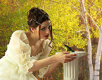 Photo-illustration for the Princess and a frog legend. A girl in a white dress and a frog, with forest in the background.