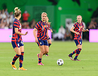 AUSTIN, TX - JUNE 16: Lindsey Horan #9 of the United States looks to pass the ball during a game between Nigeria and USWNT at Q2 Stadium on June 16, 2021 in Austin, Texas.