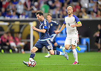 Houston, TX - Tuesday June 21, 2016: Lionel Messi during a Copa America Centenario semifinal match between United States (USA) and Argentina (ARG) at NRG Stadium.