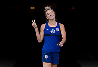 HOUSTON, TX - JUNE 9: Kristie Mewis #22 of the USWNT walks onto the field before a training session at BBVA Stadium on June 9, 2021 in Houston, Texas.