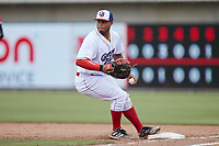 Kannapolis Cannon Ballers first baseman Harvin Mendoza (38) steps on the base for an out during the game against the Carolina Mudcats at Atrium Health Ballpark on June 13, 2021 in Kannapolis, North Carolina. (Brian Westerholt/Four Seam Images)