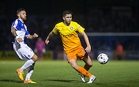 Danny Rowe of Wycombe Wanderers under pressure from Matty Taylor of Bristol Rovers during the Johnstone's Paint Trophy match between Bristol Rovers and Wycombe Wanderers at the Memorial Stadium, Bristol, England on 6 October 2015. Photo by Andy Rowland.