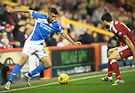 Aberdeen v St Johnstone…22.09.16.. Pittodrie..  Betfred Cup<br />Joe Gormley is closed down by Anthony O'Connor<br />Picture by Graeme Hart.<br />Copyright Perthshire Picture Agency<br />Tel: 01738 623350  Mobile: 07990 594431