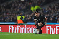 Dan Carter of New Zealand prepares to take a conversion attempt during the Semi Final of the Rugby World Cup 2015 between South Africa and New Zealand - 24/10/2015 - Twickenham Stadium, London<br /> Mandatory Credit: Rob Munro/Stewart Communications