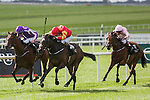 KILDARE, IRELAND - SEPTEMBER 11: Intricately #4, ridden by Donnacha O'Brien and trained by Joseph O'Brien, wins The Moyglare Stud Stakes on Irish St. Leger Day at The Curragh Race Course on September 11, 2016 in Kildare, Ireland. (Photo by Aindreas Lynch/Eclipse Sportswire/Getty Images)