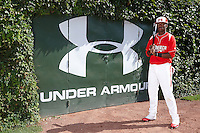 Outfielder Terry McClure #10 of Riverwood International Charter High School in Atlanta, Georgia poses for a photo before participating in the Under Armour All-American Game powered by Baseball Factory at Wrigley Field on August 18, 2012 in Chicago, Illinois.  (Mike Janes/Four Seam Images)