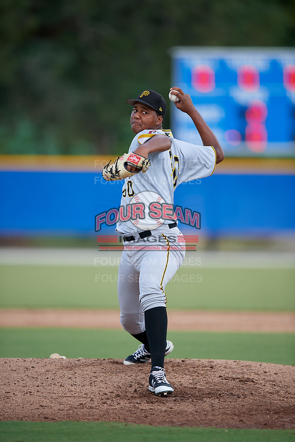 Pittsburgh Pirates pitcher Miguel Hernandez (60) delivers a pitch during an Instructional League game against the Toronto Blue Jays on October 14, 2017 at the Englebert Complex in Dunedin, Florida.  (Mike Janes/Four Seam Images)