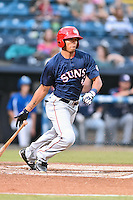 Hagerstown Suns center fielder Blake Perkins (48) swings at a pitch during a game against the  Asheville Tourists at McCormick Field on September 2, 2016 in Asheville, North Carolina. The Suns defeated the Tourists 5-1. (Tony Farlow/Four Seam Images)