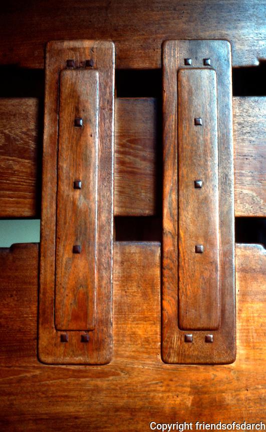 Greene & Greene: Thorsen House, Berkeley.  Stairway, woodwork.  Photo '78.