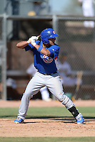 Chicago Cubs second baseman Gioskar Amaya (13) during an Instructional League game against the Oakland Athletics on October 16, 2013 at Papago Park Baseball Complex in Phoenix, Arizona.  (Mike Janes/Four Seam Images)