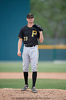 Pittsburgh Pirates pitcher Michael Wallace (73) waits to receive the ball back from the catcher during a minor league Extended Spring Training intrasquad game on April 1, 2017 at Pirate City in Bradenton, Florida.  (Mike Janes/Four Seam Images)