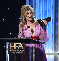 """BEVERLY HILLS - NOVEMBER 3: Laura Dern accepts the Hollywood Supporting Actress Award for """"Marriage Story"""" onstage at the 2019 Hollywood Film Awards at the Beverly Hilton on November 3, 2019 in Beverly Hills, California. (Photo by Frank Micelotta/PictureGroup)"""