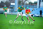 Colm Harty, Kerry in action against Gary Bennett, Carlow during the Joe McDonagh hurling cup fourth round match between Kerry and Carlow at Austin Stack Park on Saturday.
