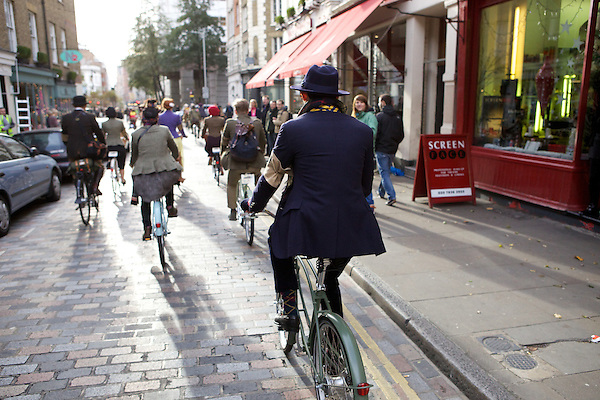 Mark-Francis Vandelli from Made in Chelsea on his bicycle during The Tweed Run, London