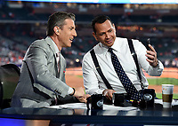 HOUSTON - OCTOBER 22: Kevin Burkhardt and Alex Rodriguez at World Series Game 1: Washington Nationals at Houston Astros on Fox Sports at Minute Maid Park on October 22, 2019 in Houston, Texas. (Photo by Frank Micelotta/Fox Sports/PictureGroup)