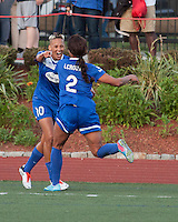 In a National Women's Soccer League Elite (NWSL) match, the Boston Breakers defeated the Western New York Flash  2-1, at Dilboy Stadium on May 5, 2013.  Boston Breakers forward Lianne Sanderson (10) and Boston Breakers forward Sydney Leroux (2) celebrate a Breaker's goal.