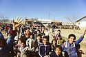 Turkey 1991.In the camp near Mardin, Kurdish children waving to a group of Iraqi Kurds going to Europe