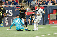 FOXBOROUGH, MA - AUGUST 4: Matt Turner #30 of New England Revolution saves a shot on goal by Carlos Vela #10 of Los Angeles FC during a game between Los Angeles FC and New England Revolution at Gillette Stadium on August 3, 2019 in Foxborough, Massachusetts.