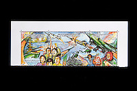 Tripoli, Libya, North Africa - Stamps Commemorating 9th Anniversary of American Attack of April 1986 against Sirte, Tripoli, and Benghazi.  Designs show American Aircraft being destroted by Libyan defenses.