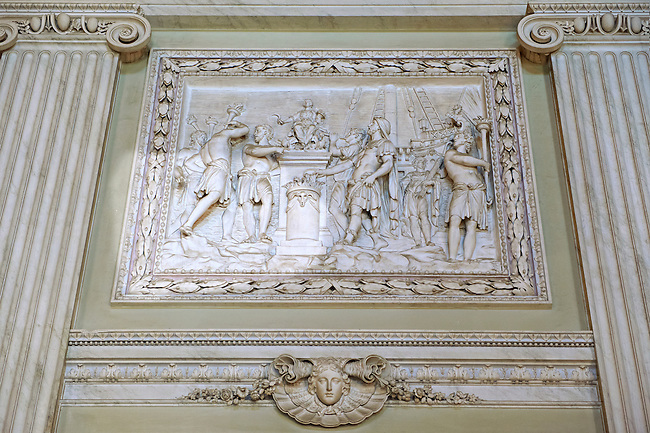 """""""The Room of the Bodyguards"""" - Bas-reliefs made between 1786 and 1789 depicting scenes from the second Punic War. The  Kings of Naples Royal Palace of Caserta, Italy. A UNESCO World Heritage Site"""
